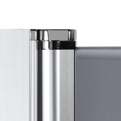 Doccia con porta battente e lato fisso Neo 67 - 69 x 77 - 79 cm, H 201,7 cm vetro temperato 6 mm trasparente/nero