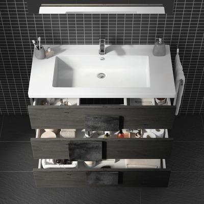 Mobile bagno Bark acero grigio L 105 cm