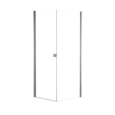 Doccia con porta battente e lato fisso Neo 71 - 73 x 77 - 79 cm, H 200 cm vetro temperato 6 mm trasparente/cromo PVD
