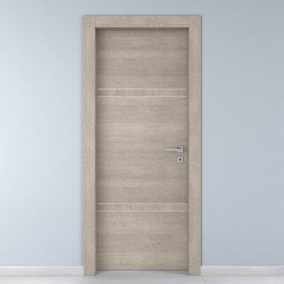 Porta da interno battente Chasing rovere chiaro 90 x H 210 cm sx