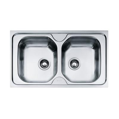 Lavello incasso Onda L 86 x P  50 cm 2 vasche
