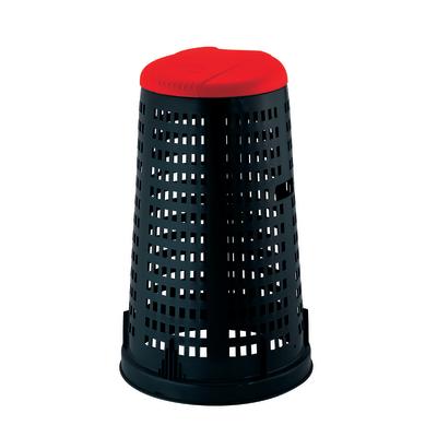 Trespolo con coperchio nero e rosso satinato 100 L