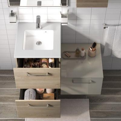 Mobile bagno Neo Line L 45 x P 48 x H 64 cm 2 cassetti rovere grigio
