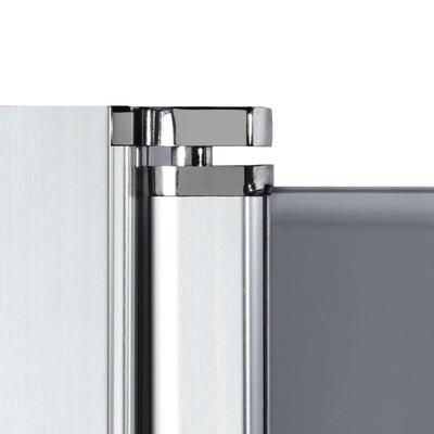 Doccia con porta battente e lato fisso Neo 89 - 91 x 77 - 79 cm, H 200 cm vetro temperato 6 mm cromo PVD