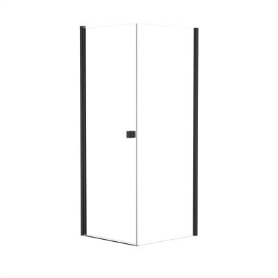 Doccia con porta battente e lato fisso Neo 77 - 79 x 77 - 79 cm, H 200 cm vetro temperato 6 mm trasparente/nero