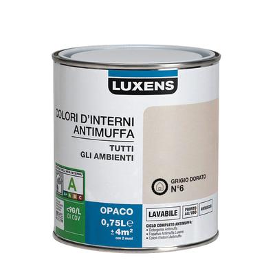 Idropittura lavabile Antimuffa Grigio Dorato 6 - 0,75 L Luxens