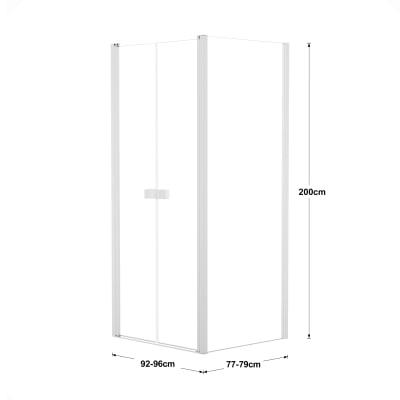 Doccia con porta saloon e lato fisso Neo 92 - 96 x 77 - 79 cm, H 200 cm vetro temperato 6 mm trasparente/bianco opaco