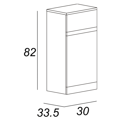 Semicolonna Elise bianco 1 anta, 1 cassetto L 30 x H 82 x P 33,5 cm