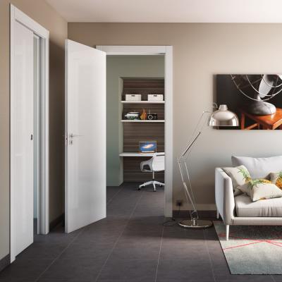 Porta da interno scorrevole Massaua white bianco 60 x H 210 cm reversibile