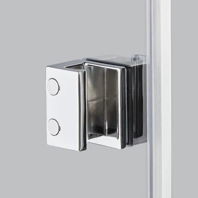 Doccia con porta saloon e lato fisso Neo 77 - 81 x 77 - 79 cm, H 200 cm vetro temperato 6 mm trasparente/silver