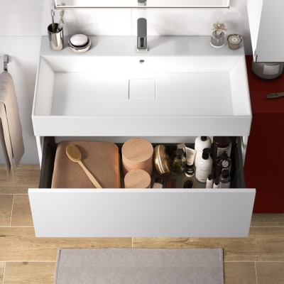 Mobile bagno Neo Line L 90 x P 48 x H 32 cm 1 cassetto bianco