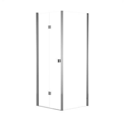Doccia con porta pieghevole e lato fisso Neo 72 - 76 x 77 - 79 cm, H 201,7 cm vetro temperato 6 mm trasparente/cromo PVD
