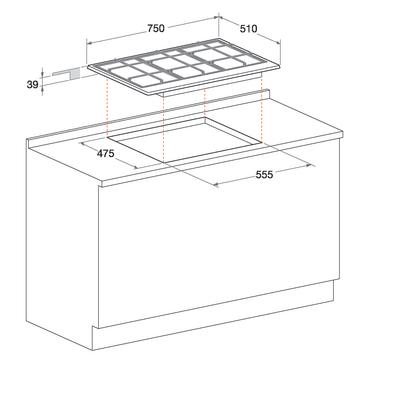 Piano cottura a gas 47,5 cm Hotpoint PC 750 T AVR/ HA