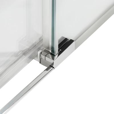 Doccia con porta scorrevole e lato fisso Neo 127 - 131 x 77 - 79 cm, H 200 cm vetro temperato 6 mm trasparente/silver
