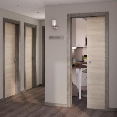 Porta da interno battente Mixage grey grano 70 x H 210 cm reversibile