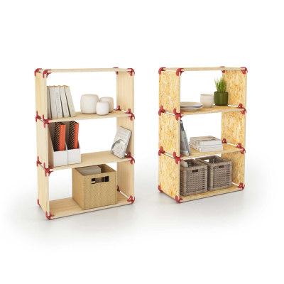 Connettore Playwood 90° per pannelli in legno in plastica hi-tech rosso confezione 4 pezzi