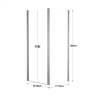 Doccia con porta saloon e lato fisso Neo 82 - 86 x 77 - 79 cm, H 200 cm vetro temperato 6 mm trasparente/silver