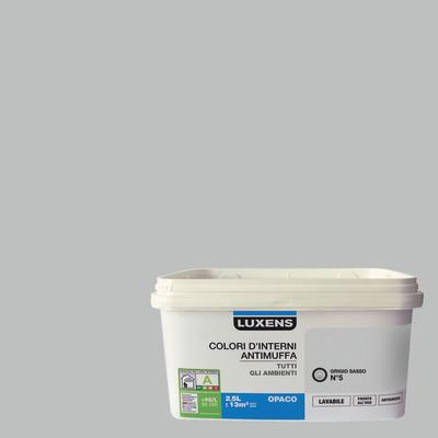 Idropittura lavabile Antimuffa Grigio Sasso 5 - 2,5 L Luxens