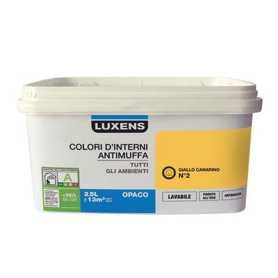 Idropittura lavabile Antimuffa Giallo Canarino 2 - 2,5 L Luxens