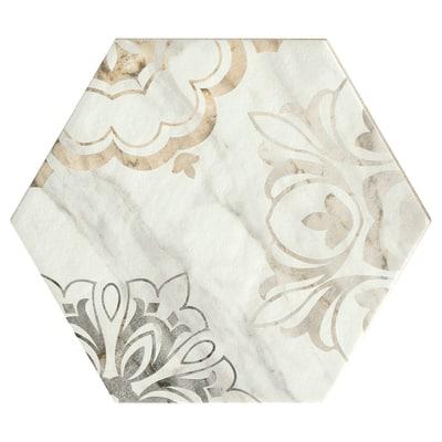 Piastrella Bristol 21 x 18,2 cm bianco, argento, oro