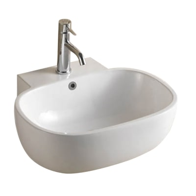 Lavabo da appoggio ovale Nacala L 54 x P 47 x H  19 cm bianco