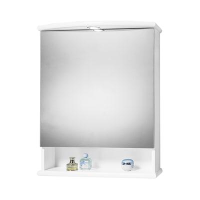 Armadietto a specchio Katia L 62 x H 77 x P  23 cm bianco lucido