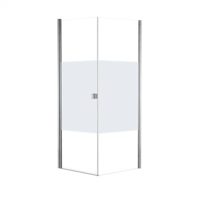 Doccia con porta battente e lato fisso Neo 73 - 75 x 77 - 79 cm, H 200 cm vetro temperato 6 mm serigrafato/cromo PVD