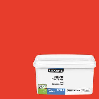 Idropittura lavabile Mano unica Rosso Rosso 3 - 2,5 L Luxens