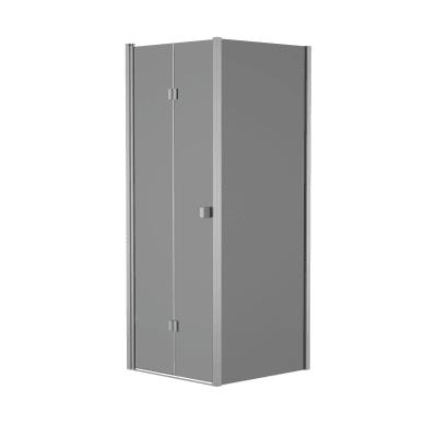 Doccia con porta pieghevole e lato fisso Neo 77 - 81 x 77 - 79 cm, H 201,7 cm vetro temperato 6 mm fumè/silver