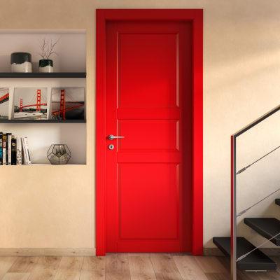 Porta da interno scorrevole New York rosso 60 x H 210 cm reversibile