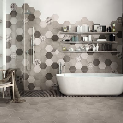 Piastrella Time Hexagone 21 x 18,2 cm bianco