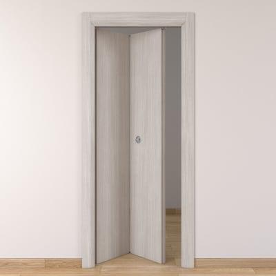Porta da interno pieghevole Brooklyn frassino bianco 80 x H 210 cm sx
