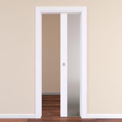Porta da interno scorrevole Plaza Vetro Frassino bianco 70 x H 210 cm reversibile
