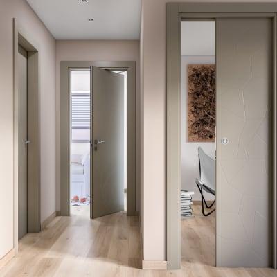 Porta da interno scorrevole The Thing gray grigio 70 x H 210 cm reversibile