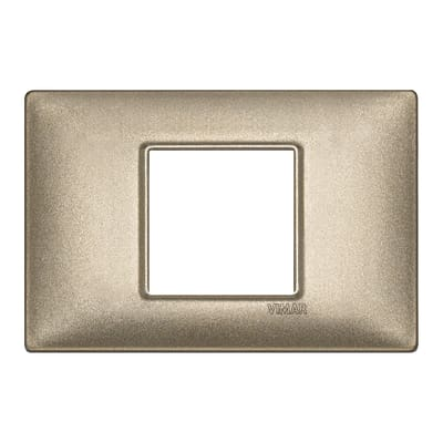 Placca 2 moduli Vimar Plana bronzo metal