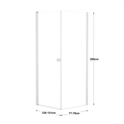 Doccia con porta battente e lato fisso Neo 89 - 91 x 77 - 79 cm, H 200 cm vetro temperato 6 mm trasparente/bianco opaco