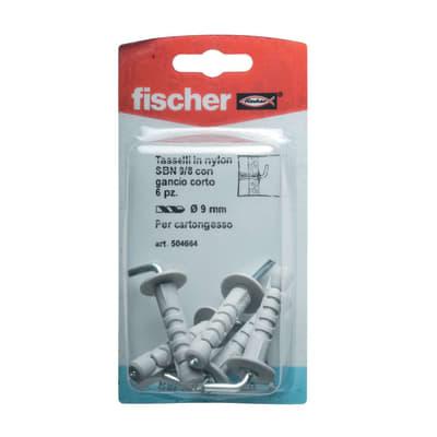 6 tasselli Fischer SBN ø 9 x 43  mm con gancio corto