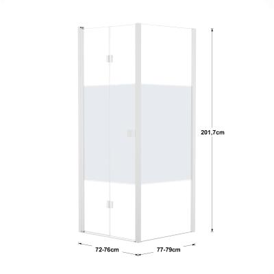 Doccia con porta pieghevole e lato fisso Neo 72 - 76 x 77 - 79 cm, H 201,7 cm vetro temperato 6 mm serigrafato/bianco opaco
