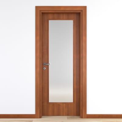 Porta da interno battente Diamond noce biondo 80 x H 210 cm reversibile