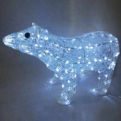 Orso polare luminoso 160 Led bianca fredda H 80 cm