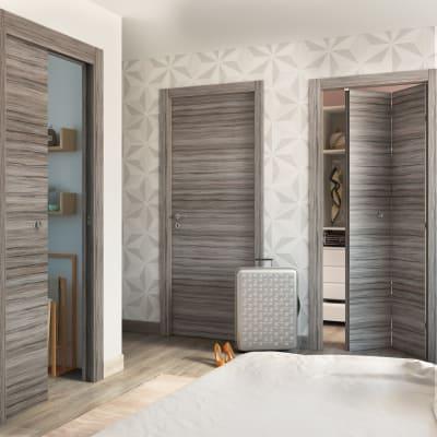 Porta da interno pieghevole Cover palissandro grigio 80 x H 210 cm dx
