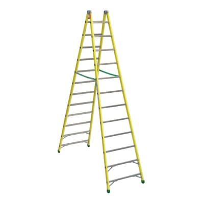 Scala doppia alluminio 12 gradini, per lavori fino a 4,4 m
