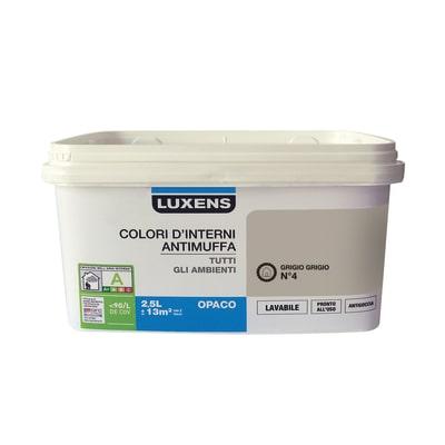 Idropittura lavabile Antimuffa Grigio Grigio 4 - 2,5 L Luxens