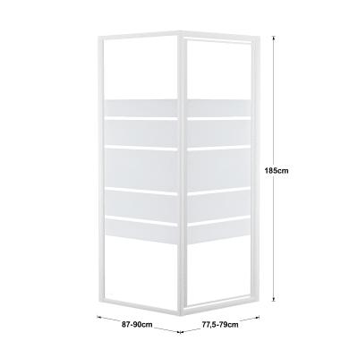 Doccia con porta battente e lato fisso Nerea 87 - 90 x 77.5 - 79 cm, H 185 cm cristallo 4 mm serigrafato/bianco lucido