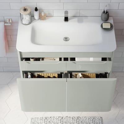 Mobile bagno Liverpool grigio L 94 cm