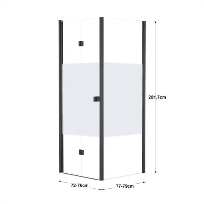 Doccia con porta pieghevole e lato fisso Neo 72 - 76 x 77 - 79 cm, H 201,7 cm vetro temperato 6 mm serigrafato/nero