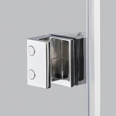 Doccia con porta battente e lato fisso Neo 79 - 81 x 77 - 79 cm, H 200 cm vetro temperato 6 mm serigrafato/cromo PVD