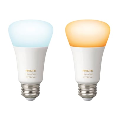 2 lampadine smart LED Philips Hue E27 =60W goccia luce CCT 220°