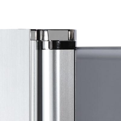 Doccia con porta battente e lato fisso Neo 87 - 89 x 77 - 79 cm, H 200 cm vetro temperato 6 mm fumè/silver