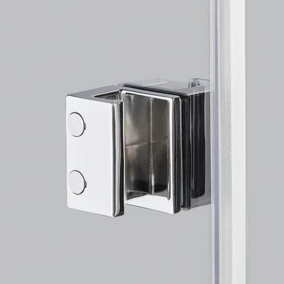 Doccia con porta pieghevole e lato fisso Neo 92 - 96 x 77 - 79 cm, H 201,7 cm vetro temperato 6 mm fumè/silver